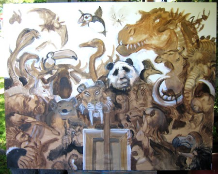 Menagerie – Sepia Acrylic Lay-in